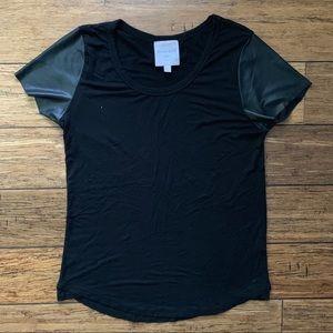 Black Cotton Leather Like Shiny Sleeve Tee Shirt
